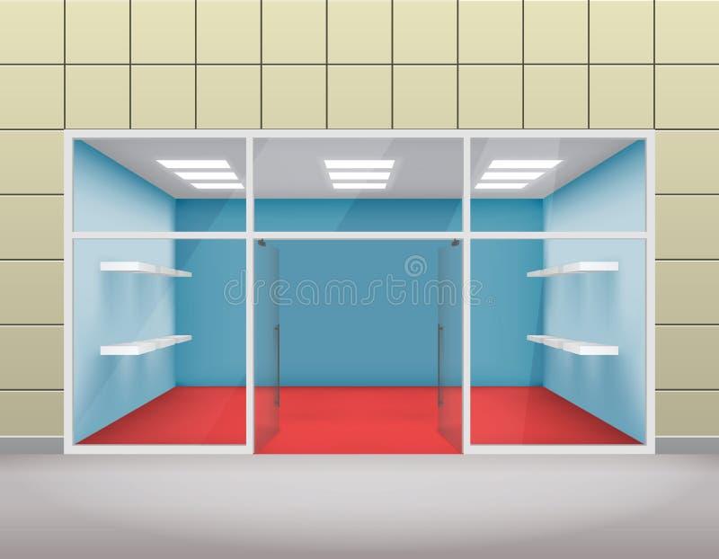 Tomt shoppa det främre boutiquefönstret och för mallvektor för öppen dörr 3d illustrationen royaltyfri illustrationer