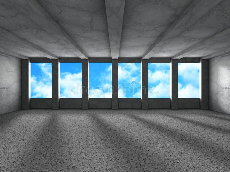 Download Tomt Stads- Tömmer Ruminre Med Fönster Till Himmelbakgrund Stock Illustrationer - Illustration av takfönster, grått: 78729601
