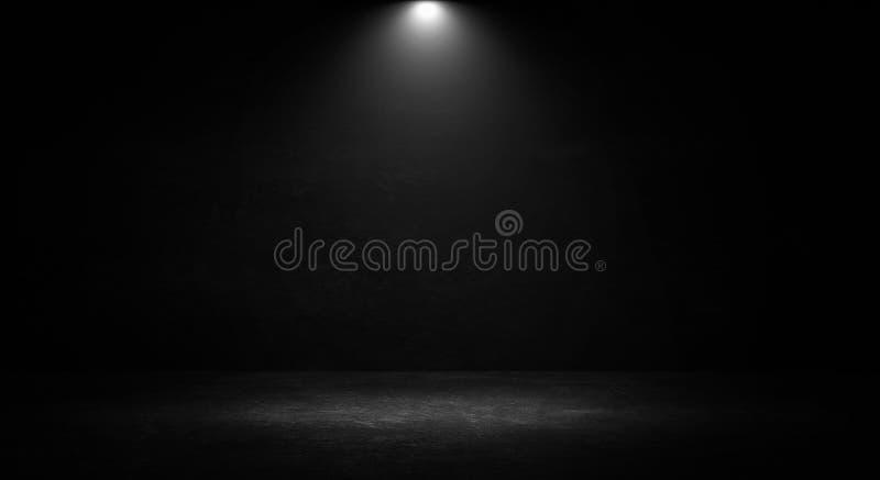Tomt svart studiorum Stranda av hår vänder mot in Abstrakt mörk tom studiorumtextur royaltyfri fotografi