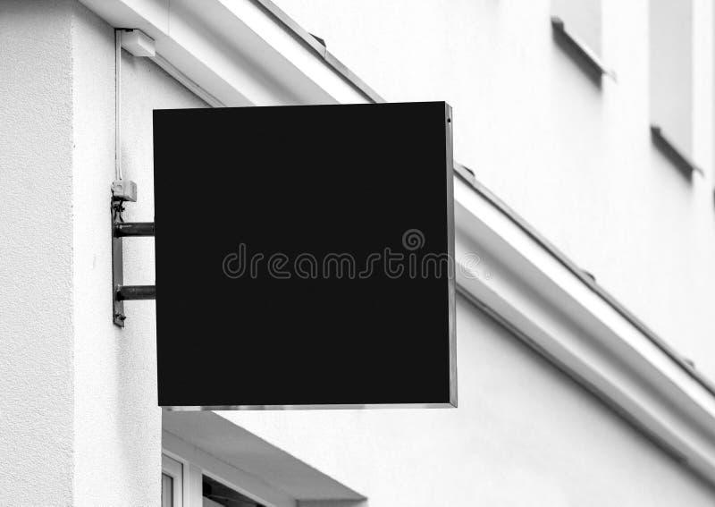 Tomt svart utomhus- affärstecken royaltyfria bilder