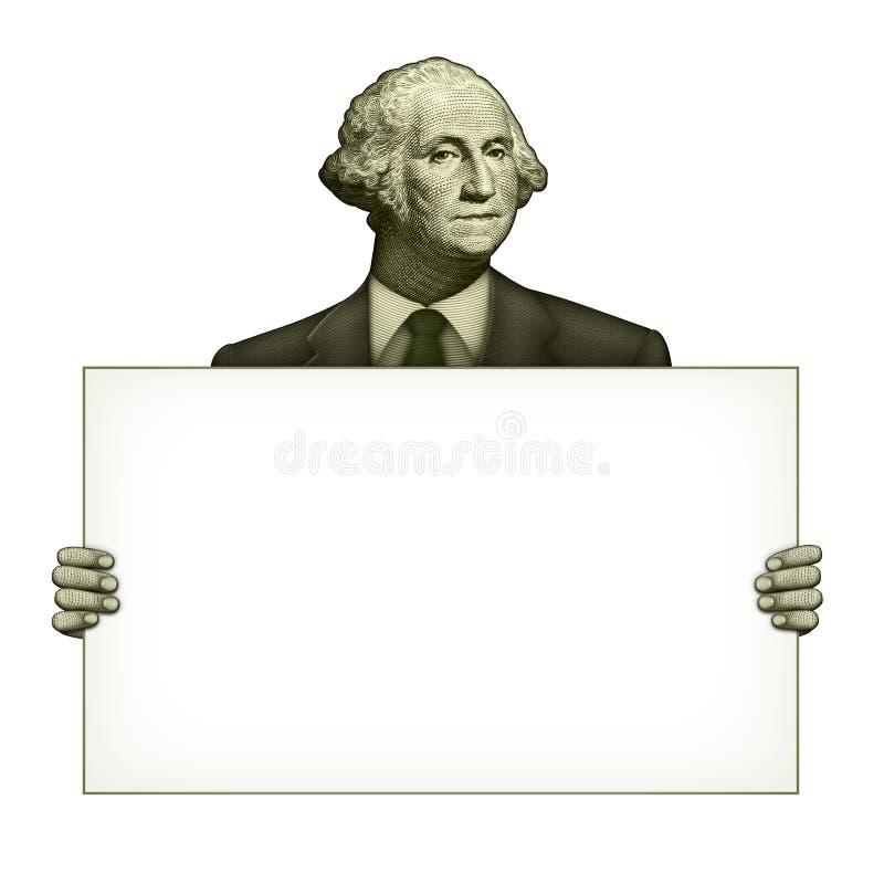 Tomt tecken som rymms av George Washington royaltyfri illustrationer