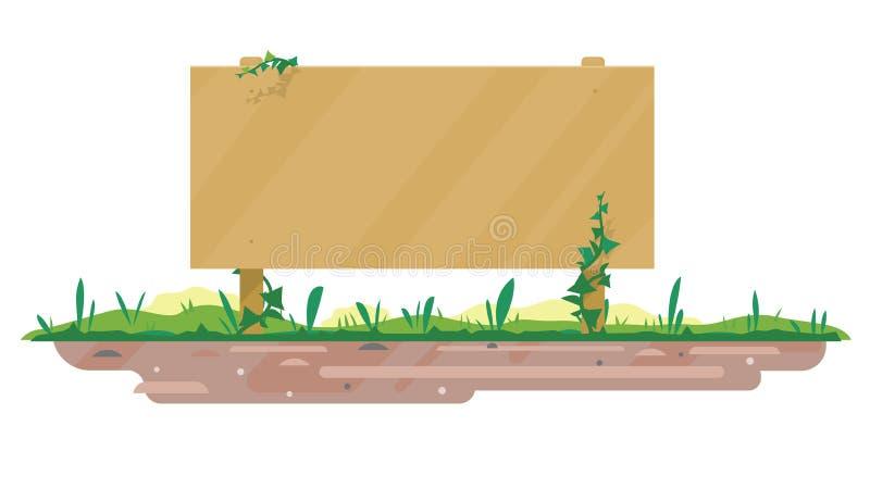 Tomt träbräde på jordning royaltyfri illustrationer