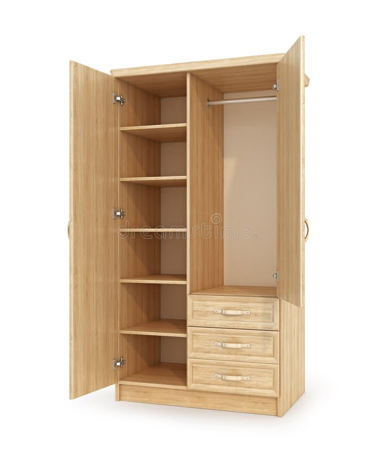 Tomt träkabinett med öppna dörrar, hyllor och enheter royaltyfri fotografi
