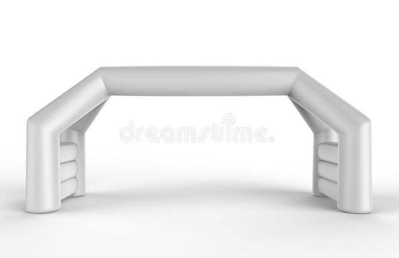 Tomt uppblåsbart vinkelformigt ärke- rör för vit eller händelseingångsport Starta linjen dubbel ärke- dörr för sportar illustrati stock illustrationer