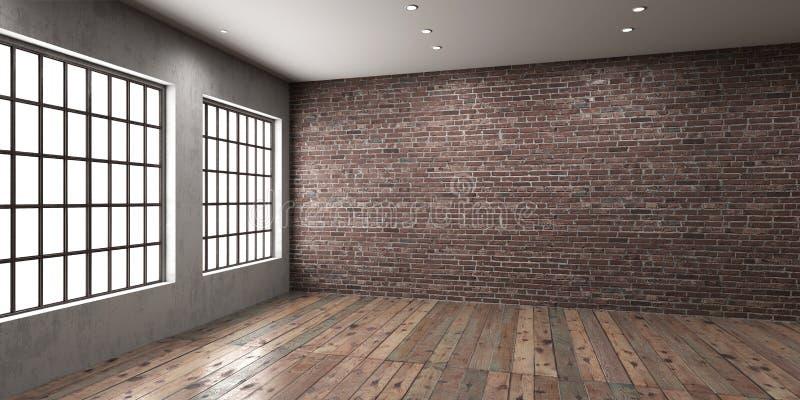 Tomt utrymme för studio eller för kontor i vindstil royaltyfri illustrationer