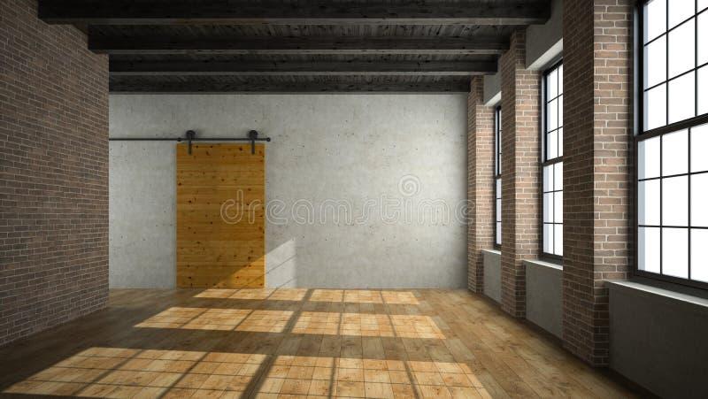Tomt vindrum med den trätolkningen för dörr 3D stock illustrationer
