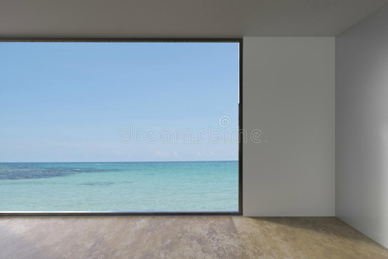 Tomt vindrum med fönstret som inomhus bor på havssikt arkivbilder