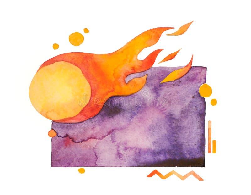 Tomt violett vattenfärgutrymme med den brinnande komet, försäljningsteckenorientering vektor illustrationer
