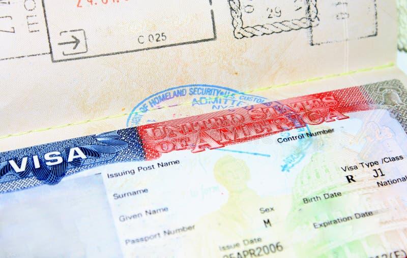 Tomt visum för J1 USA för man royaltyfri bild
