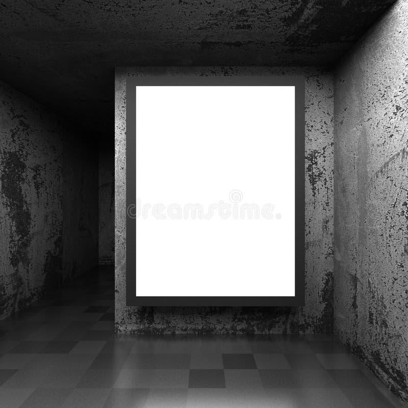 Download Tomt Vitt Affischbaner I Mörkerbetongrum Stock Illustrationer - Illustration av grått, skugga: 78730659