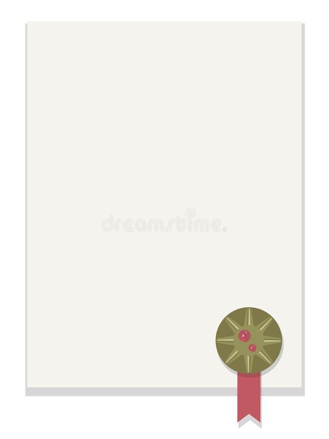 Tomt vitt ark av papper med skugga med bronsrundautmärkelsen med det röda bandet och den röda fasetterade skinande ädelstenen i d royaltyfri illustrationer