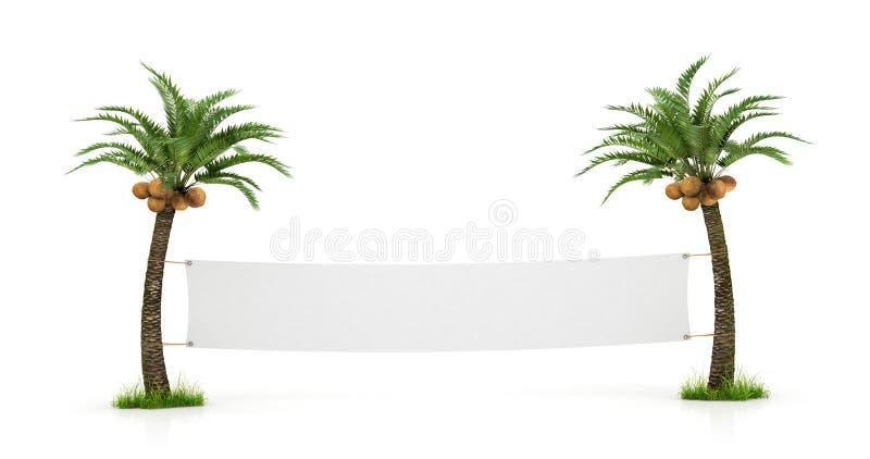 Tomt vitt baner som sträcks mellan två palmträd stock illustrationer