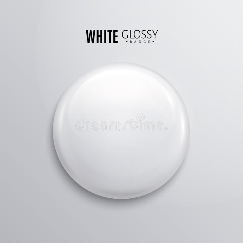 Tomt vitt glansigt emblem eller knapp 3d framför Runt plast- stift, emblem, volontäretikett vektor stock illustrationer