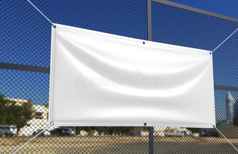 Tomt vitt inomhus utomhus- tyg- & sildukvinylbaner för tryckdesignpresentation illustrationen 3d framför royaltyfri illustrationer