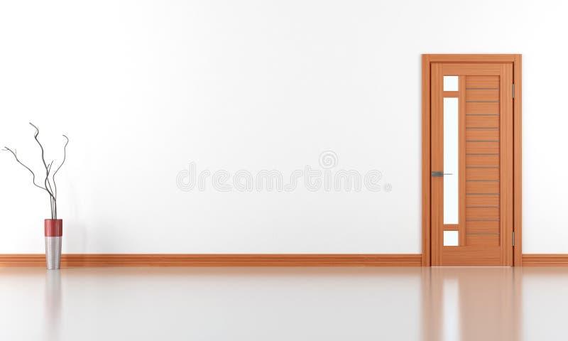 Tomt vitt rum med den stängda dörren vektor illustrationer