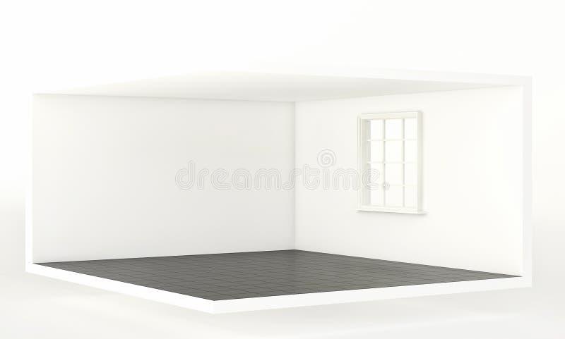 Tomt vitt rum med det svarta golvet och fönstret, inre för design och garnering 3d framför arkivfoto