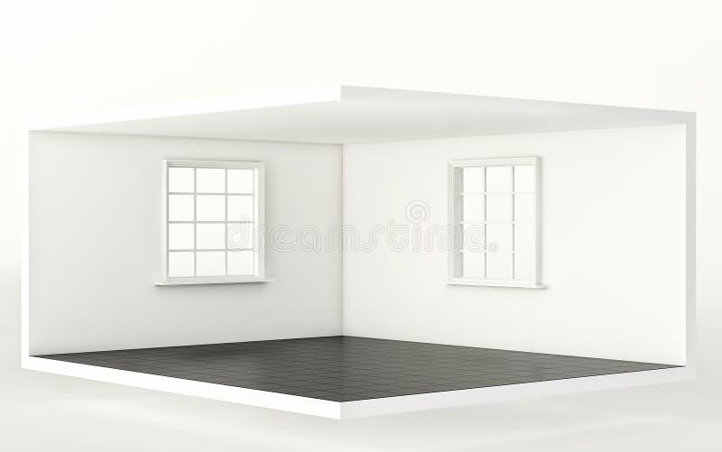 Tomt vitt rum med det svarta golvet och två fönster, inre för design och garnering 3d framför stock illustrationer