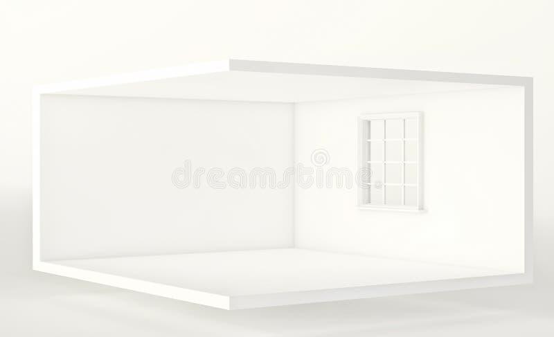 Tomt vitt rum med fönstret, inre för design och garnering 3d framför stock illustrationer