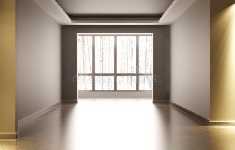 Tomt vitt rum med inregarnering I rummet finns det konstgjort ljus utanför fönstervinterträt stock illustrationer