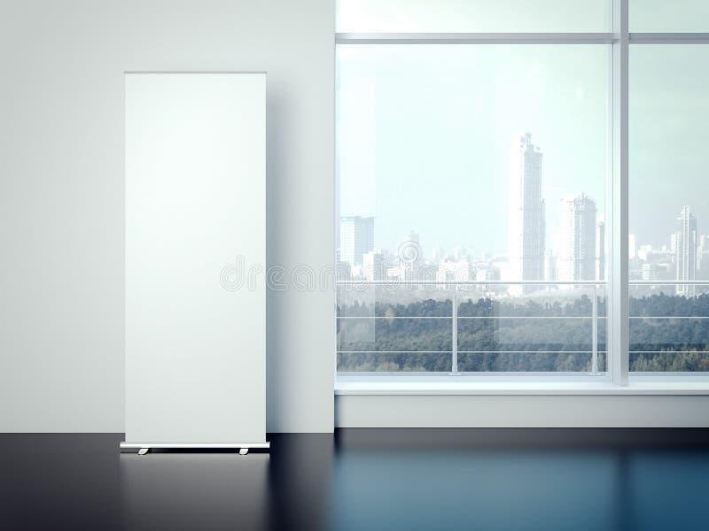 Tomt vitt vertikalt baner i kontorsinre framförande 3d stock illustrationer