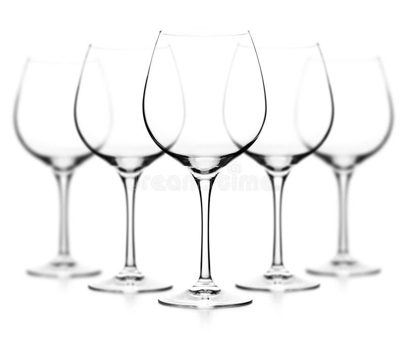 Tomt wineexponeringsglas royaltyfri bild