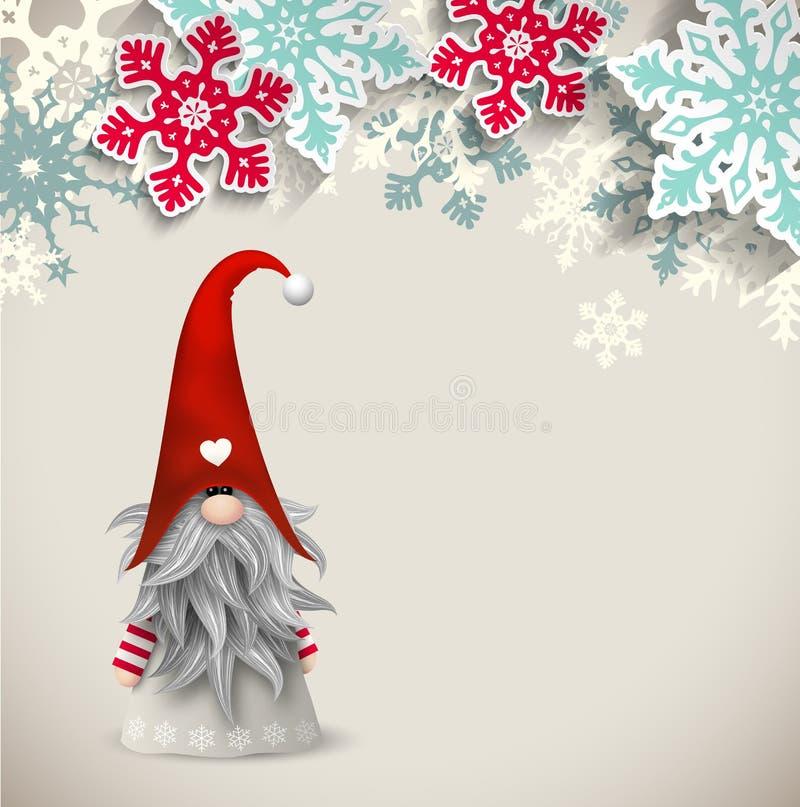 Tomte, скандинавский традиционный карлик рождества, иллюстрация иллюстрация вектора