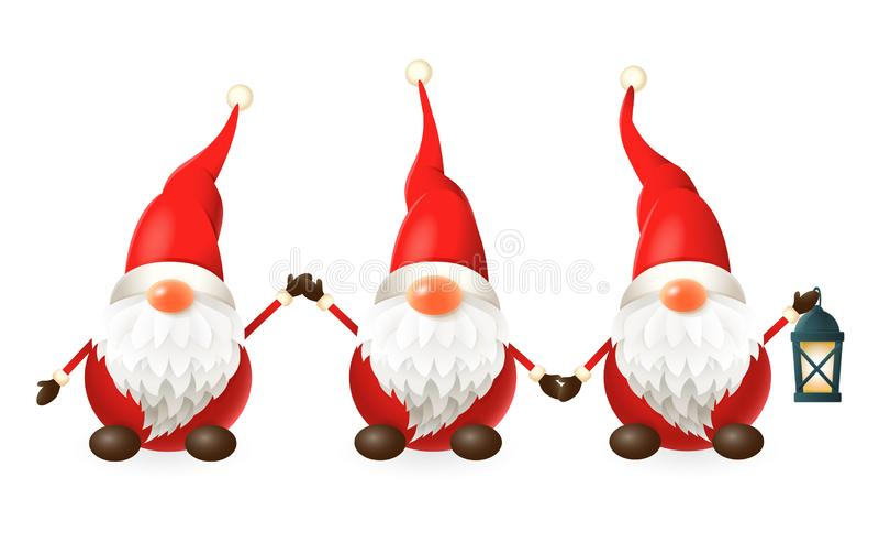 Tomte, Nisse, Tomtenisse - drei glückliche nette skandinavische Gnomen feiern Sie Wintersonnenwende - Vektorillustration lokalisi vektor abbildung