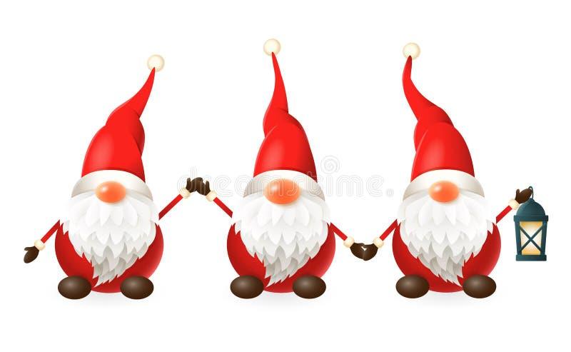 Tomte, Nisse, Tomtenisse - drie gelukkige leuke Skandinavische gnomen vier de winterzonnestilstand - vectordieillustratie op wit  vector illustratie