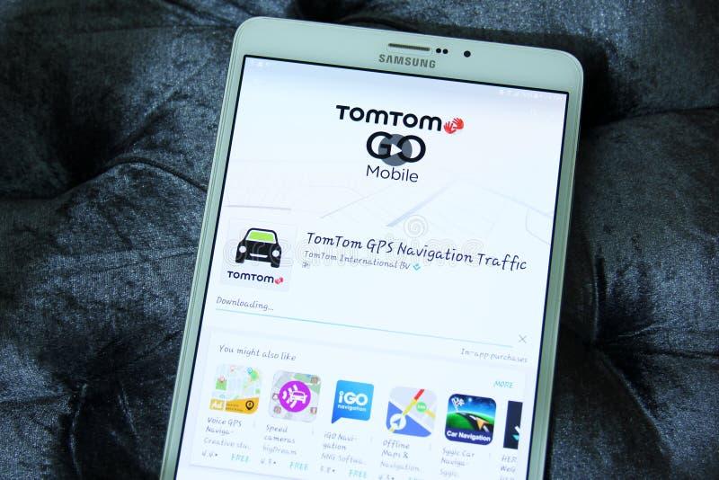 TomTom ИДЕТ движение app навигации GPS стоковая фотография