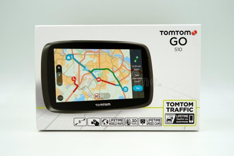 TomTomen går asken för detaljhandel för systemet för GPS bilnavigering arkivbild
