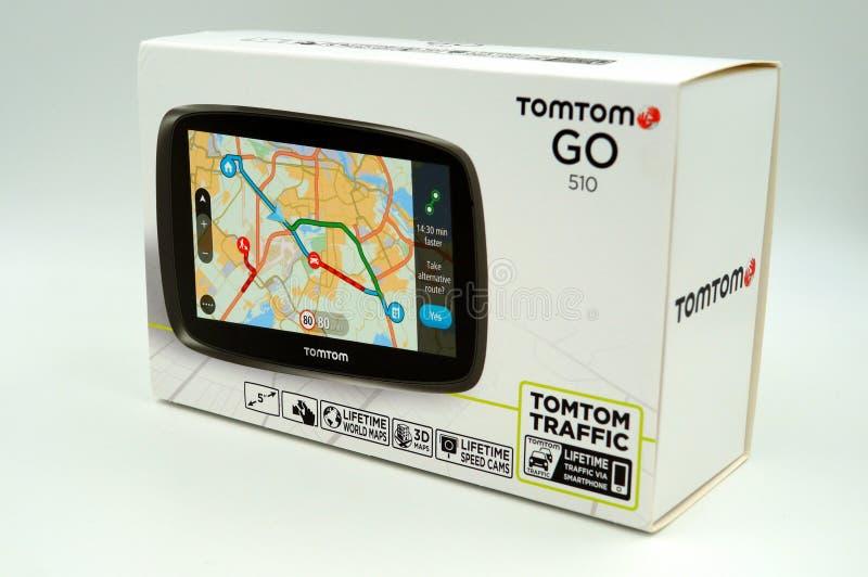 TomTomen går asken för detaljhandel för systemet för GPS bilnavigering royaltyfri foto