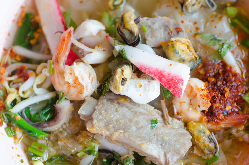 Tomyum noodle with seafood. Thai food royalty free stock images