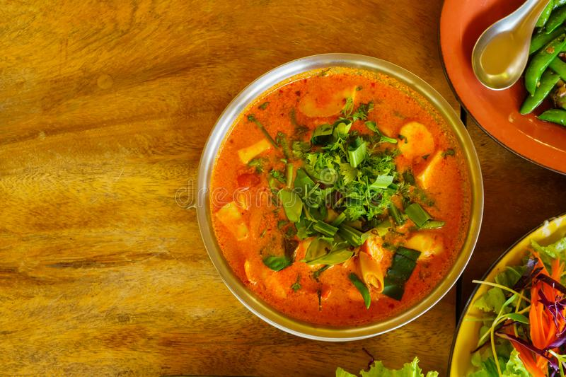 Tom yum serve in a bow view from top view royalty free stock photos