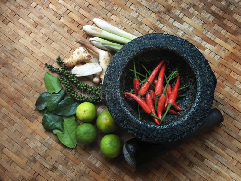 TOMYUM, thailändische Lebensmittelgewürzbestandteile stockfotos