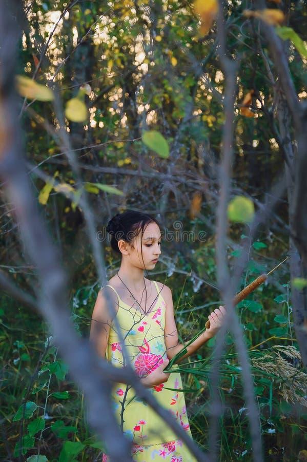 Tonårig flicka för stående bland träden, sommar arkivfoton