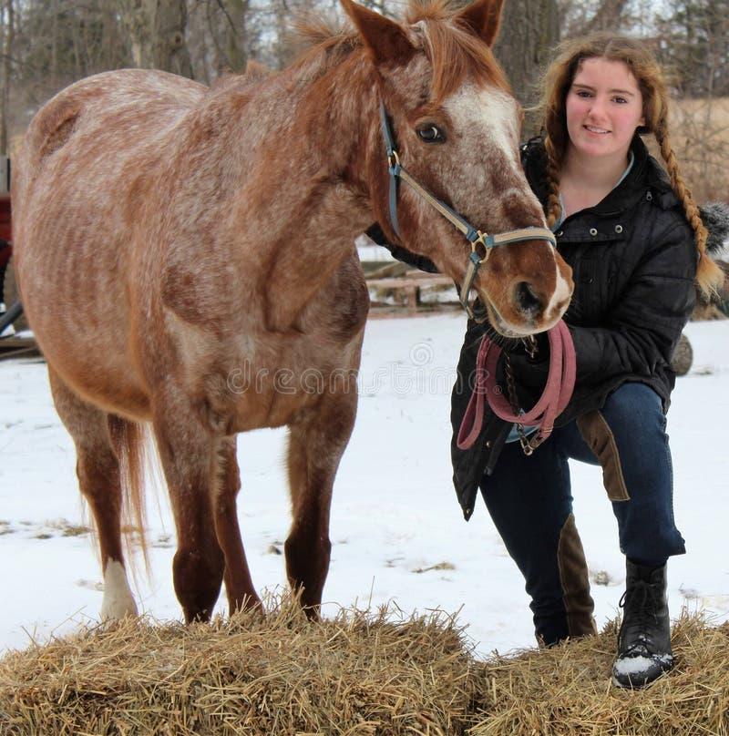 Tonårig flicka med ridninghästen royaltyfri fotografi