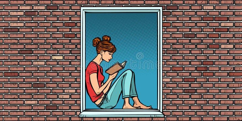 Ton?rig flicka som l?ser en bok som sitter i f?nstret vektor illustrationer
