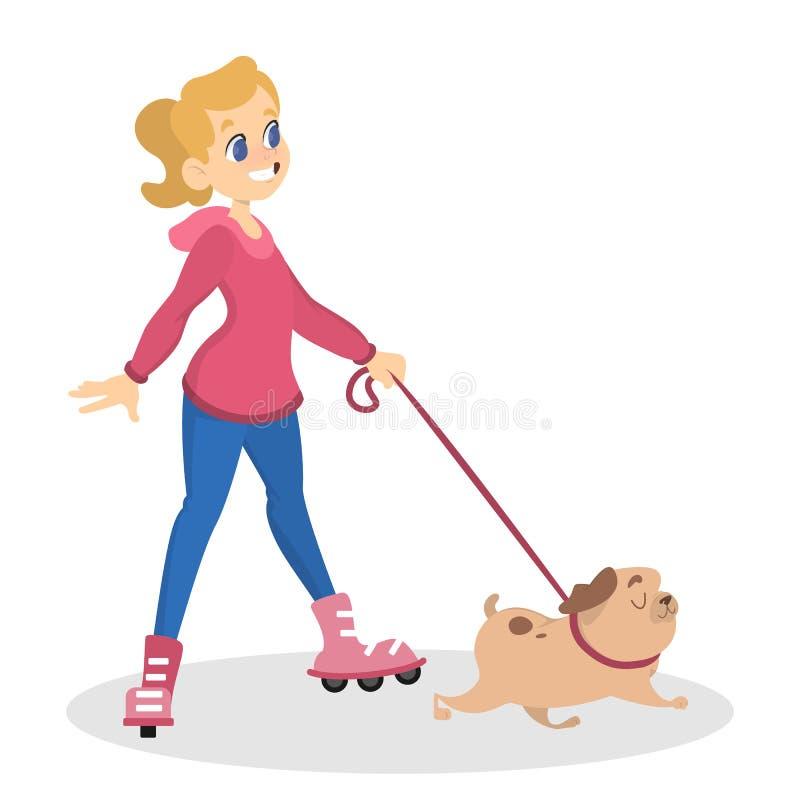 Tonårig flicka som spelar med hennes gulliga husdjur vektor illustrationer