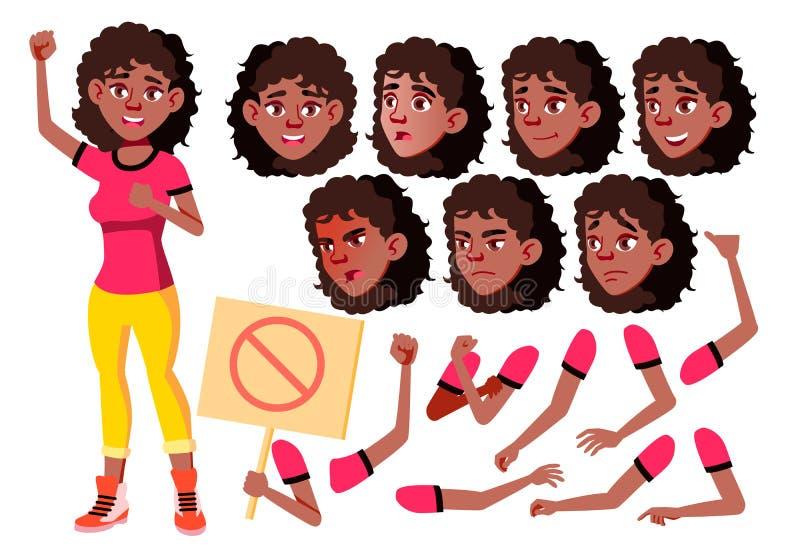Tonårig flickavektor tonåring Gulligt komiker glädje Framsidasinnesrörelser, olika gester Animeringskapelseuppsättning Flickamakt stock illustrationer