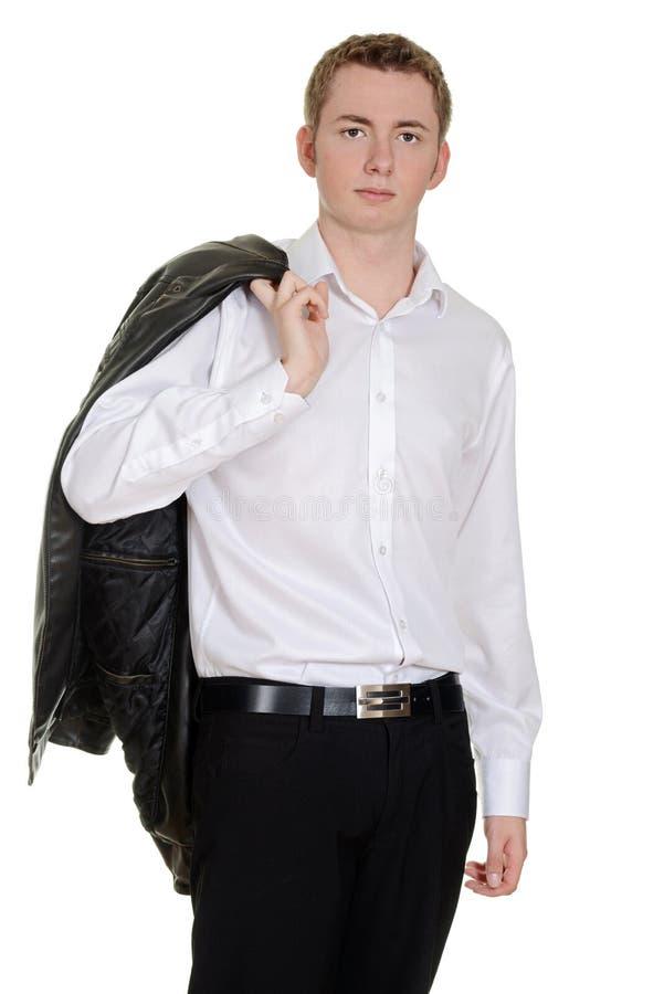 Tonårig pojke med läderomslaget över skuldra royaltyfria foton