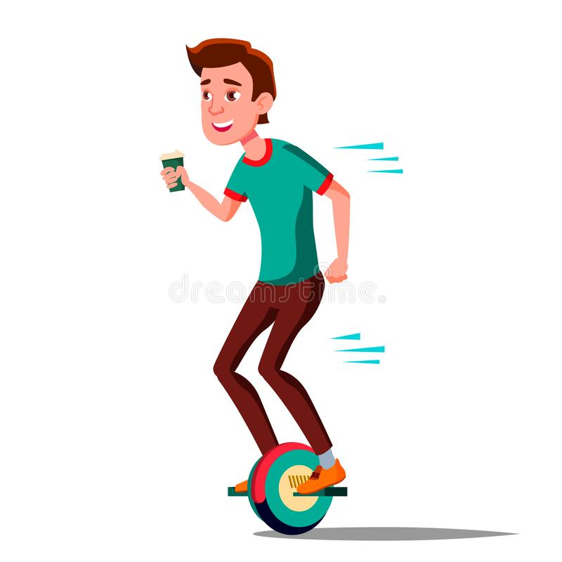 Tonårig pojke på den Hoverboard vektorn Rida på gyroskopsparkcykeln En-hjul elektrisk Själv-balansera sparkcykel Positiv person stock illustrationer