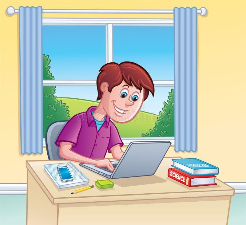 Tonårig pojke som använder bärbar datordatoren för läxa vektor illustrationer