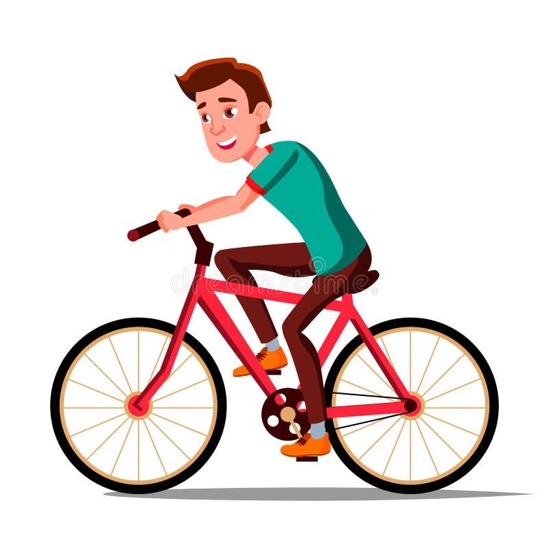 Tonårig pojkeridning på cykelvektor Sund livsstil trångsynt Aktivitet för utomhus- sport isolerad knapphandillustration skjuta s- royaltyfri illustrationer
