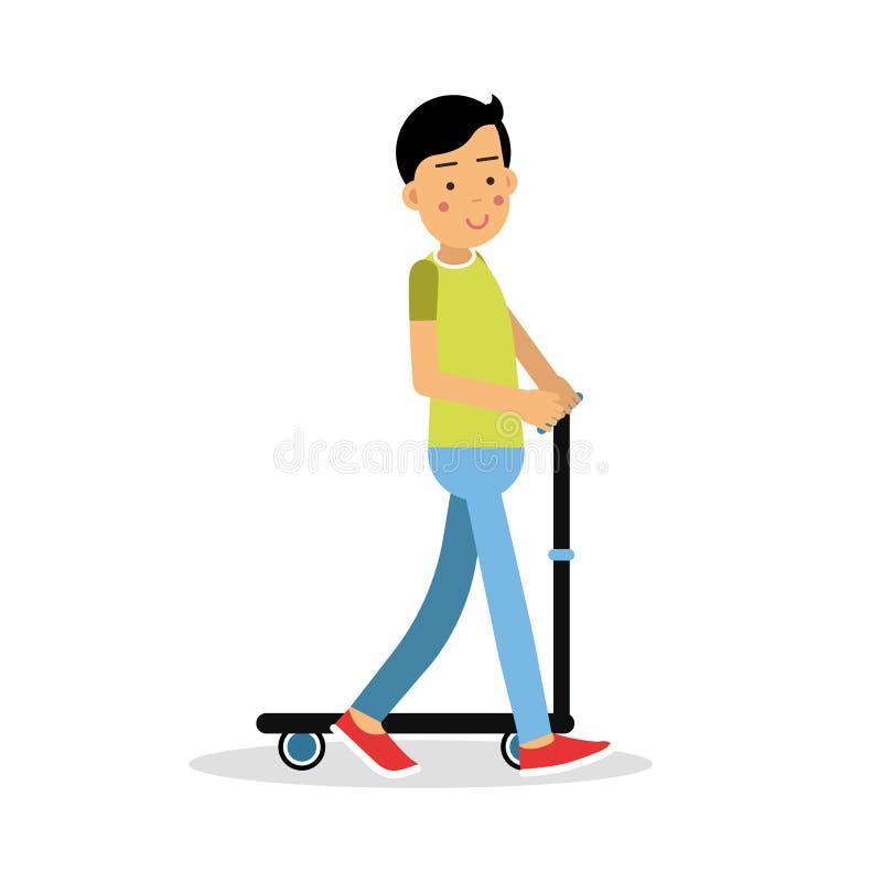 Tonårig ridning för gullig brunettpojke ett tecken för sparksparkcykeltecknad film, illustration för vektor för fysiska aktivitet stock illustrationer