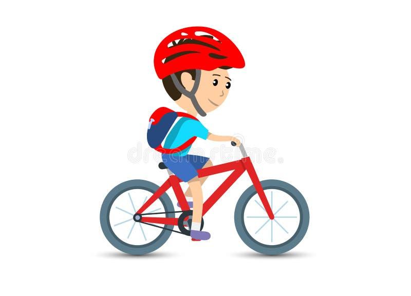 Tonårig ungeskolapojke som cyklar på den bärande ryggsäcken för cykel och hjälmen, vektorillustration stock illustrationer