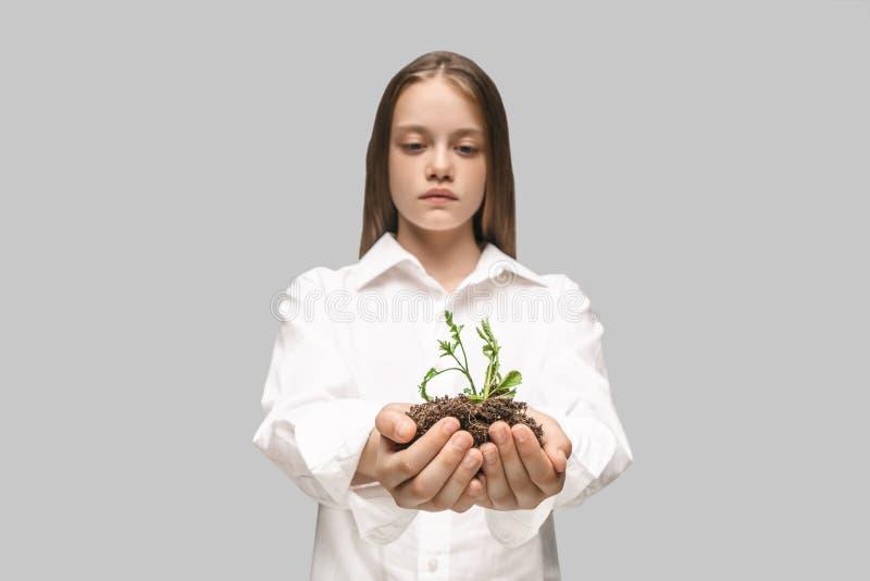 Tonåriga händer med plantor på grå studiobakgrund Vårbegrepp, natur och omsorg royaltyfria bilder