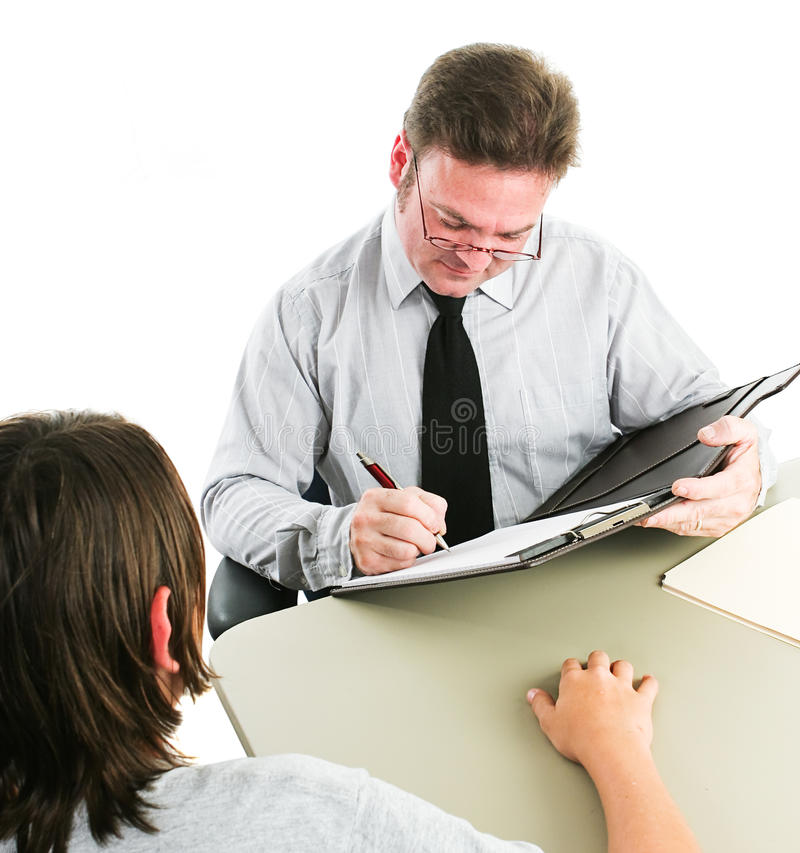 Tonåriga Job Interview eller rådgivning arkivfoton