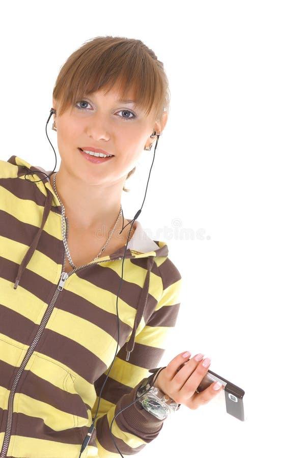 tonåring för celltelefon royaltyfria bilder
