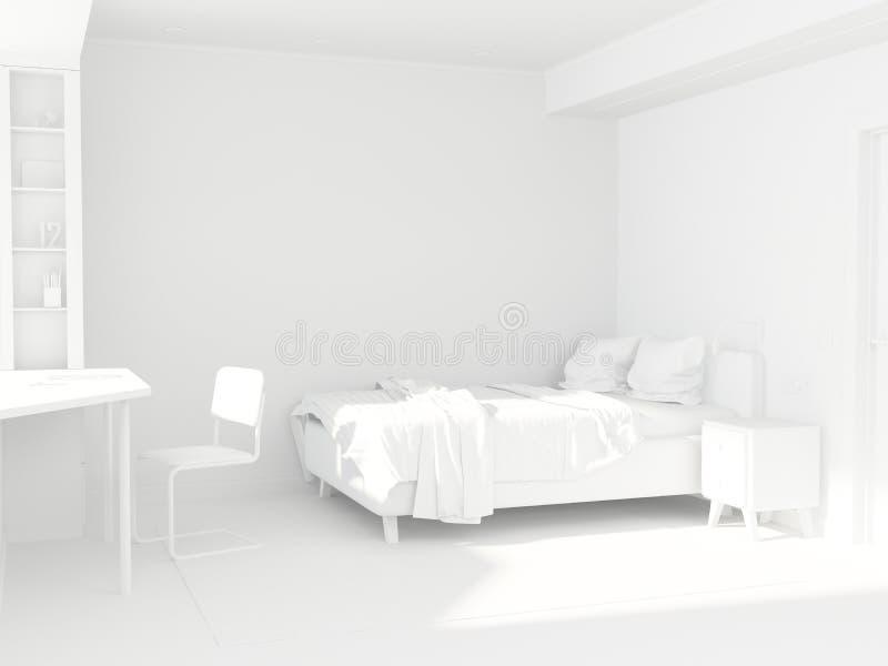 Tonåring för vitt rum i den skandinaviska stilen Rumdesign vektor illustrationer