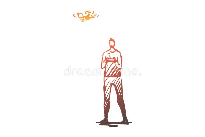 Tonåring pojke, surr, apparat, teknologibegrepp Hand dragen isolerad vektor stock illustrationer